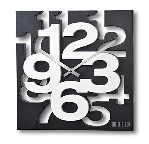 GMMH 3 D Moderno Orologio da Parete di Design 1106 Orologio da Cucina Bagno Ufficio Orologio Decorazione Tranquillo (Nero Bianco), nero/bianco
