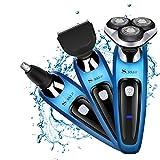 SURKER Elektrorasierer 3D Rasierer Bartschneider 3 in 1 Präzisionstrimmer, Vollständig abwaschbar Barttrimmer set Blau