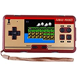 QingShe 638 FC Classic Games Handheld Player, Portable Handheld Console with 3.0-Inch Color Display, Brown