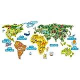 Etiquetas engomadas de la educación para los niños - Mapa del mundo divertido y colorido, Geografía y ciencia animal 'El mundo aprende' la decoración de la etiqueta engomada de la pared del vinilo para los niños, las habitaciones de los niños, la sala de juegos, las escuelas
