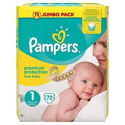 Pampers New Baby - Pannolini misura 1, 74 pannolini per pacchetto, confezione da 2 pacchetti per un totale di 148 pannolini