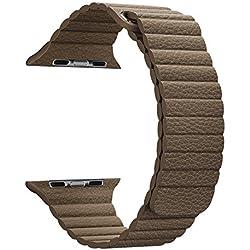 MaKer Cuero Correa Loop de Piel con Cierre Magnético Compatible con Apple Watch Series 5/4/3/2/1-L/M (44mm/42mm,Marrón)