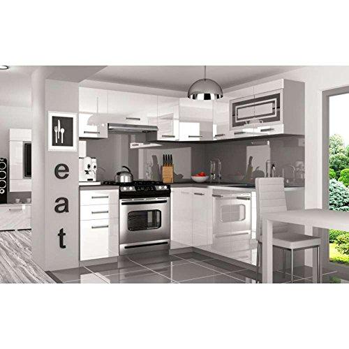 JUSThome Lidja L Pro L-Cocina completa 190x170 cm Color: Blanco Brillante