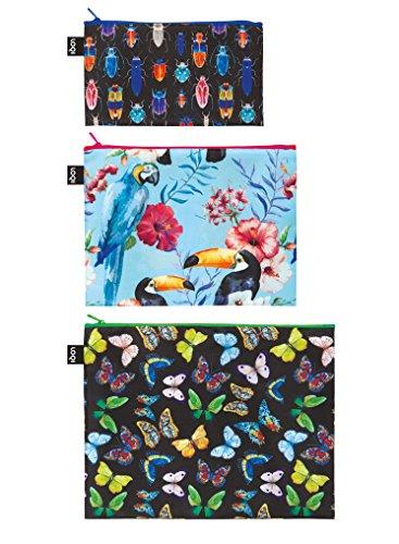 LOQI Artist Wild Insects - Birds Butterflies Zip Pockets Porta carta di identità, 32 cm,...