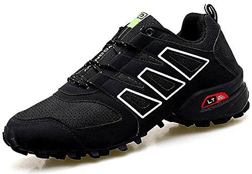 CAGAYA Zapatillas de Senderismo Hombre Trekking Zapatillas Antideslizante Aire Libre Calzado Deportivo Zapatillas de Trail Running Hombre (44, Negro)