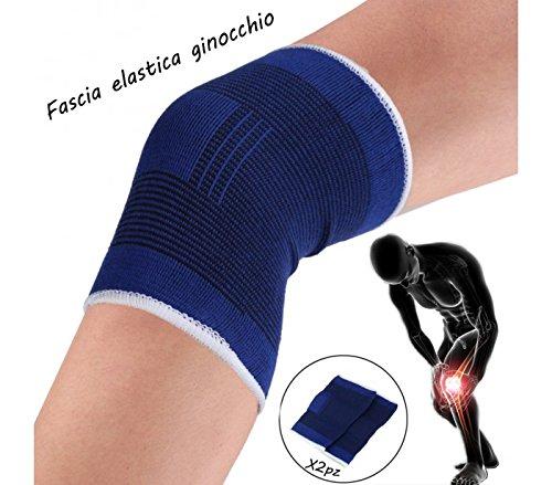 Coppia di 2 fasce elastiche per GINOCCHIO unisex supporto tutore ideale per sport e dolori...