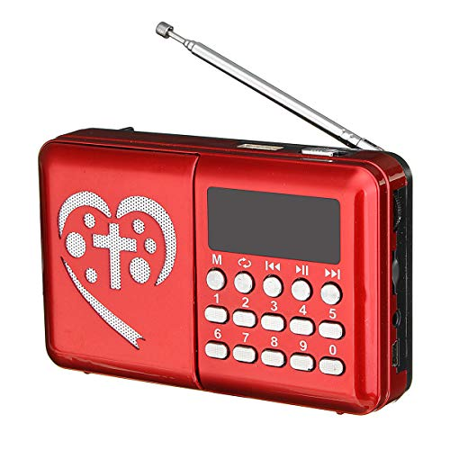 SRBI Electronic Bible Audio MP3 Player LED Screen Rechargeable Mini Radio TF Card- Red
