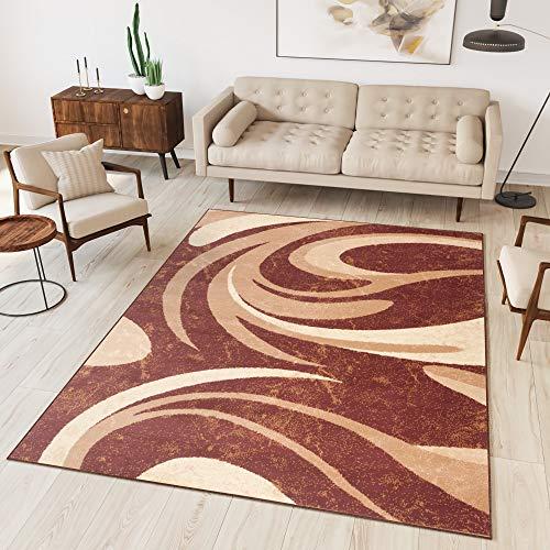 TAPISO Dream Tappeto Salotto Moderno Soggiorno Crema Marrone Astratto Onde A Pelo Corto 60 x 100 cm