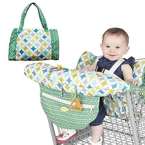Protezione per carrello della spesa per neonati o bambini, copertura pieghevole per carrello e seggiolone, leggera e compatta, vestibilità universale.