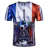 Lenfesh T-shirts de l'équipe de France Coupe du Monde de Football - T-Shirt à Manches Courtes imprimé Drapeau National des Hommes - Blouse d'été (XXL, Bleu)