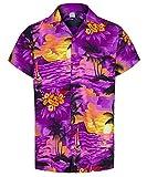Redstar Fancy Dress - Chemise hawaïenne à Manches Courtes - Homme - Vacances/déguisement - imprimé été hawaïen - Violet - XXL