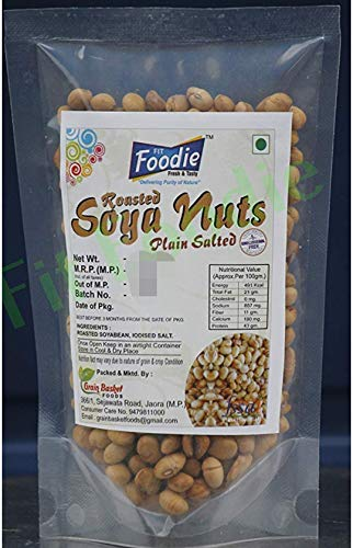 FIT FOODIE Roasted Soyabean Nuts Plain Salted Sugar and Oil-free Healthy Diet Snack (2 Pack x 200 gm)