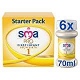 SMA PRO First Infant Milk, From Birth, Starter Pack, 70ml (Pack of 6)