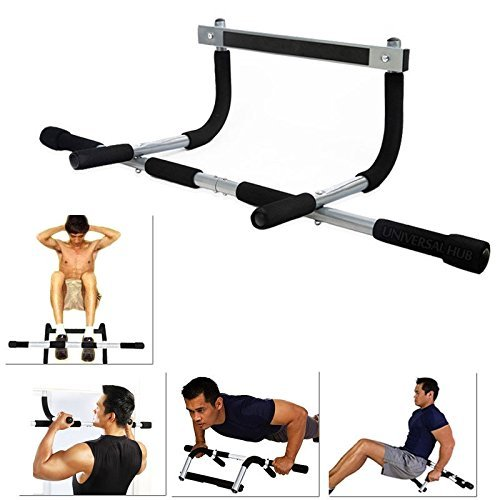 Ponix Home Gym Pull up Bars for Home | Push up bar | sit ups Equipment |  dips Stands with Top Pulley Solid Fitness Gym Accessories (Color- Black) |
