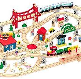 Set Trenino In Legno Grande Pista Treno In Legno 130 pezzi Accessori Gioco Creativo Treno Piattaform