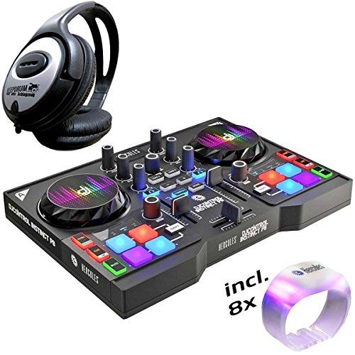 Controlador DJ de Hercules DJ, Instinct P8, pack de fiesta + auriculares Keepdrum de diadema