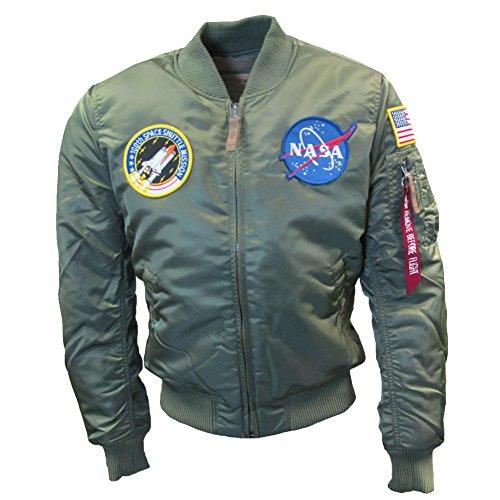 Alpha Industries Uomo MA1 NASA VF Bomber Marina Verde Salvia XL