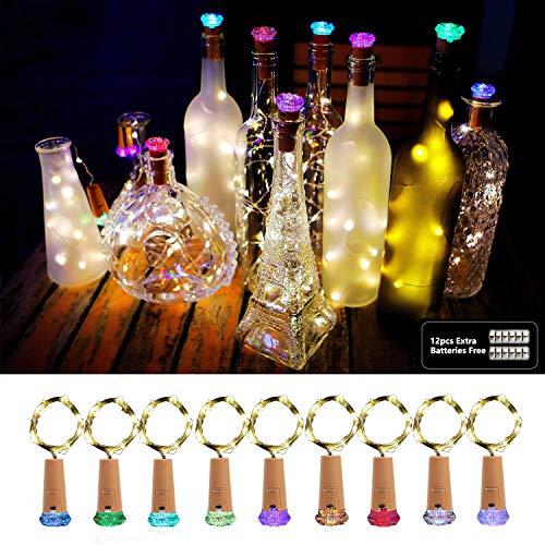 Luci per Bottiglie, AOLUXLM 9x20 LED Bottiglia Luci con 12 Batteria di Ricambio, Luci a catena...