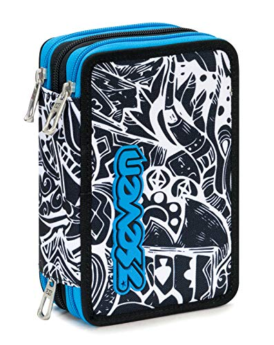 Astuccio 3 Zip Seven Black&White, Blu, Con materiale scolastico: 18 pennarelli Giotto Turbo Color,...