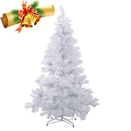 MCTECH 150cm PVC Festive Artificial Christmas Tree Albero di Natale Bianco Decorazione Albero con Supporto (150cm)