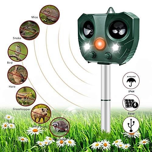 Katzenschreck Ultraschall Solar, Nasharia Wasserdichte Utraschall Tiervertreiber mit Batteriebetrieben und Blitz 5 Modus Einstellbar Ultraschall Abwehr Tierabwehr für Katzen Hunde Schädlinge Rotwild