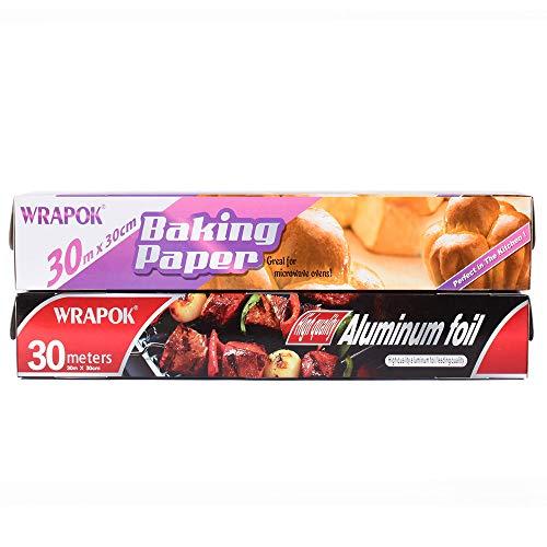 WRAPOK 1 x Cucina Stagnola per ristorazione antiaderente e 1 x Tovaglia per carta da forno per...