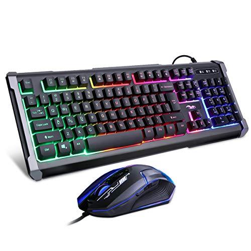 BAKTH Tastiera e Mouse da Gioco, Colore da Arcobaleno LED Retroilluminato USB Gaming Tastiera e...