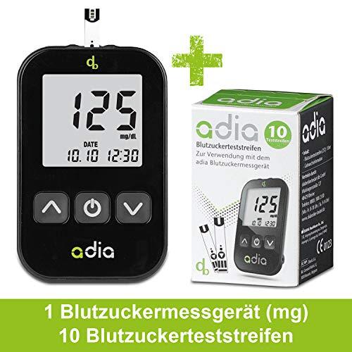 adia Blutzuckermessgerät (mg/dl) inkl. 10 Teststreifen für Diabetiker zur Kontrolle des Blutzuckers bei Diabetes - Diabetes Test