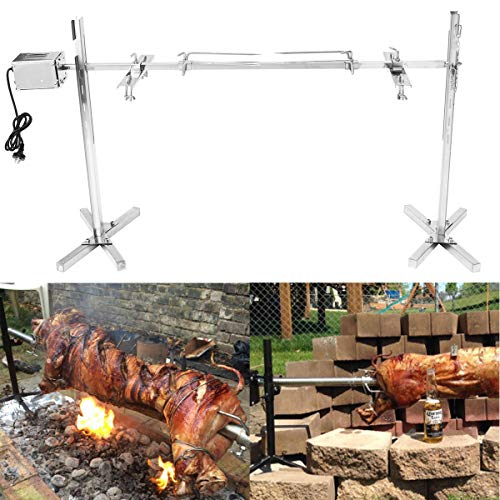 HITSAN INCORPORATION Large Grill Rotisserie Spit Roaster Rod Charcoal BBQ Pig Chicken 15W Motor Kit