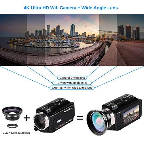 Caméscope 4K Vlogging Caméra Vidéo Ultra HD Wi-Fi Appareil Photo Numérique 48MP 3'' écran Tactile Vision Nocturne 16X Enregistreur de Zoom N... 24