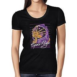 NERDO - Space Hugs - Damen T-Shirt, Größe M, schwarz
