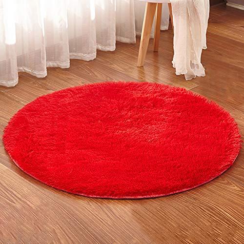 Tappeto Shaggy Rotondo Yoga Tappeto Decorativo Soggiorno Camera, Vari Colori e Misure Rosso Diametro...