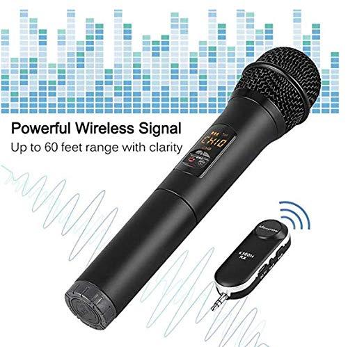 Wireless Microfono Palmare 10 Canali Selezionabili di UHF con Ricevitore Bluetooth e Convertitore 6,5mm Jack Audio per Karaoke, Presentazione, Discorso, Guida Turistica, Lezione ecc