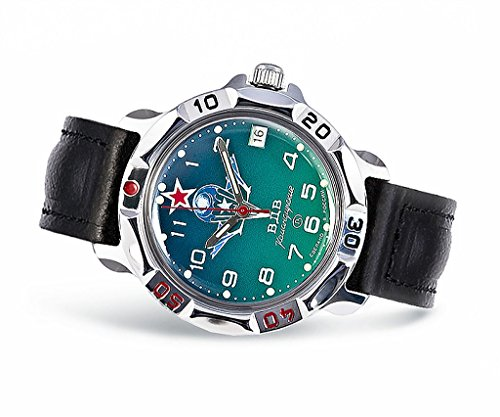 Vostok Komandirskie, orologio da polso meccanico, impermeabile, con calendario, in stile militare...