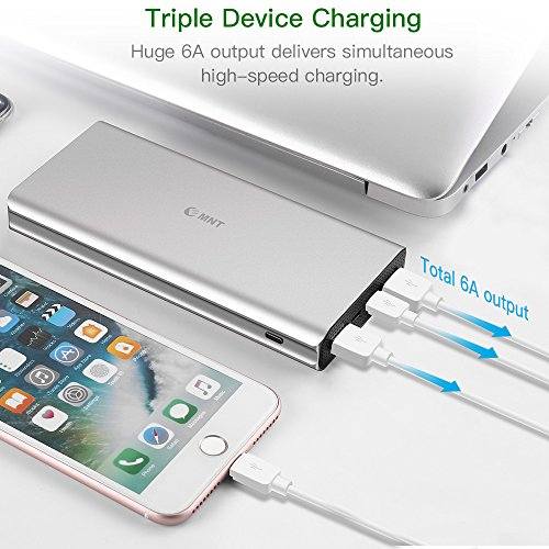 Caricabatterie Portatile, 22000mAh Batteria Esterna (Ricarica Rapida 3.0 & Output Di Tipo C 3.0A) EMNT Power Bank Esterne Per iPhone 7/8/X, iPad, Samsung S7/S8 – Grigio Argento