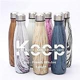 KAILH Vakuum Isolierte Edelstahl Trinkflasche, BPA Frei Wasserflasche Auslaufsicher, 500/750/1000ml Thermosflasche für Sport, Yoga, Outdoor, Büro, Kinder, Schule, Hochwertigem Isolierflasche