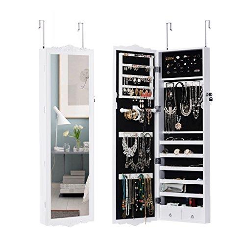 LANGRIA Hängend Schmuckschrank Spiegelschrank Türmontage/Wandmontage mit 2 Schubladen und 3 Höhenverstellbarkeit (36,7 x 9 x 121,5 cm, weiß)