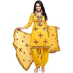 EthnicJunction Women's Silk Cotton Unstitched Dress Material (EJ1180-88018 _Yellow_ Free Size)