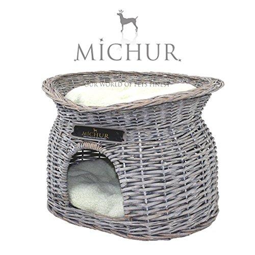 MICHUR RICHY, cesta igloo in vimini imbottita per gatto, divanetto, rattan, grigio, ca. 55x39x43cm...