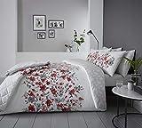 Blumenmuster Aquarell Stil Rot Baumwollgemisch Einzeln (Uni Silbergrau Passendes Leintuch - 91 X 191cm + 25) 3 Stück Bettwäsche Set