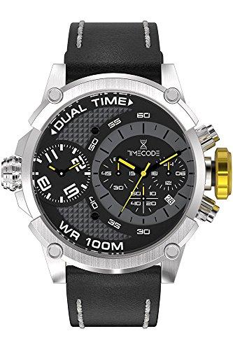 Timecode Herren Chronograph Quarz Uhr mit Leder Armband TC-1002-14