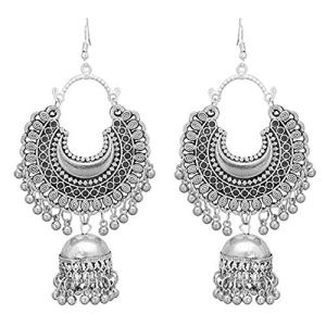 Roops Collexion Afgani Chand German Silver Oxidized Grey Jhumki Earrings for Women 11  Roops Collexion Afgani Chand German Silver Oxidized Grey Jhumki Earrings for Women 519xbu ZaNL