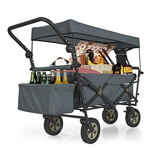 PRIMA GARDEN Faltbarer Bollerwagen grau | UV-Schutzdach,Schubbügel,Bremsen,Kühltasche,Crossprofilräder | 80kg Tragkraft | Handwagen,Transportwagen