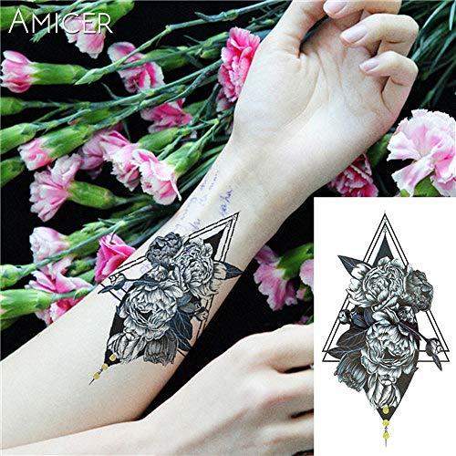tzxdbh 7pc-appassito Bianco Grande Stile del Fiore Nero Caldo Rose Tattoo Tatuaggio Nero Impermeabile Sticker 7PC-