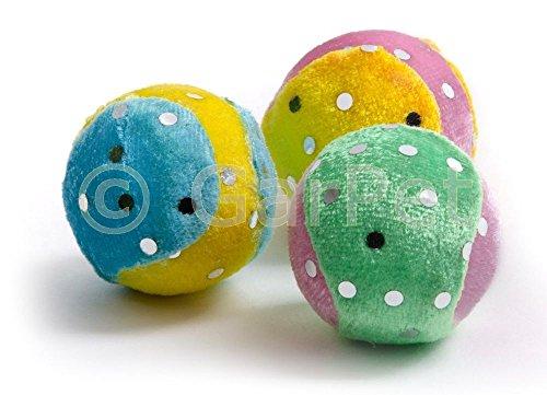 katzeninfo24.de 3x Plüsch Katzenspielzeug Ball Katzenball Hundespielzeug Hund Katze Spielzeug Bälle