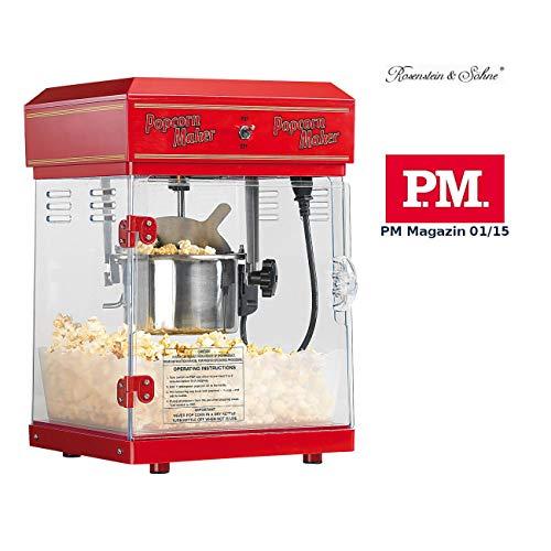 Rosenstein & Söhne Popcornmaschine: Profi-Retro-Popcorn-Maschine'Cinema' mit Edelstahl-Topf im...