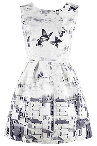 Azbro Vintage A-Línea Vestido Dibujo Mariposa