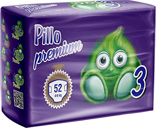 Pillo Premium Midi, Taglia 3 (4-9 Kg), 52 Pannolini