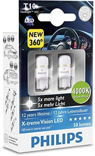 Philips 127994000KX2 X-treme Vision LED T10 4000K CeraLight, Diffusione Uniforme della Luce a 360°