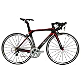 BEIOU® 2016 700C Road Shimano 105 Bike 5800 11S Racing Bicycle T800-M40 Carbon Fiber Aero Frame Ultra-light 18.3lbs CB013A-2 (Matte Black&Red, 520mm)